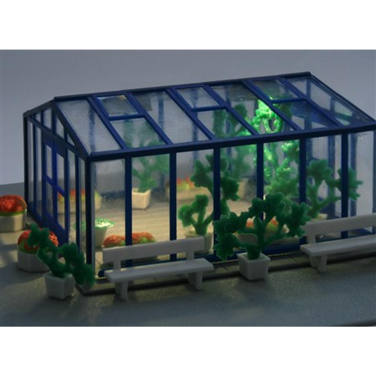 h0 deko set gew chshaus mit led beleuchtung modellbau fischer g nstige modellbauartikel mit top. Black Bedroom Furniture Sets. Home Design Ideas